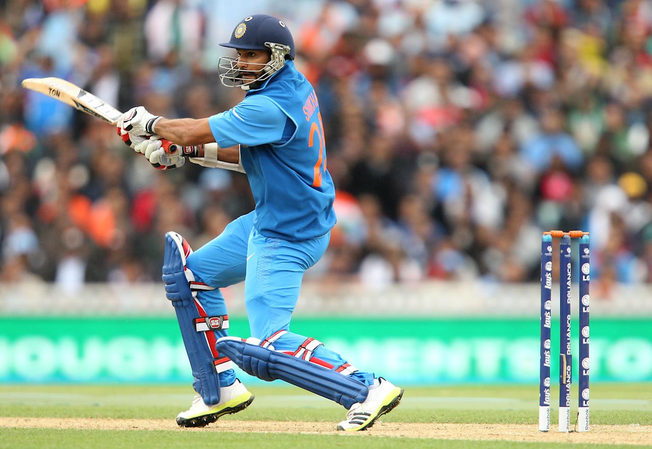 India's Shikhar Dhawan in action during the ICC Champions Trophy match at the Kia Oval, London.