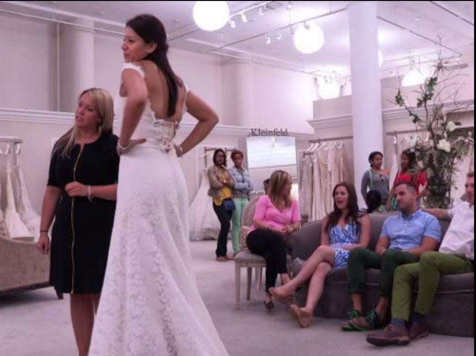 """<p>According to a former <em>SYTTD</em> bride, the producers and director would frequently <a href=""""https://www.417mag.com/417-bride-issues/summer-fall-2013/behind-the-scenes-say-yes-to-the-dress/"""" rel=""""nofollow noopener"""" target=""""_blank"""" data-ylk=""""slk:ask her to repeat sentences"""" class=""""link rapid-noclick-resp"""">ask her to repeat sentences</a> and dialogue. </p>"""