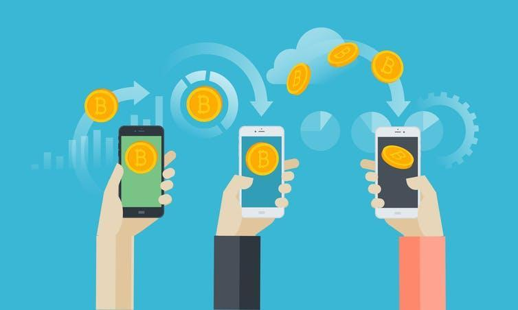 An illustration of several hands holding up smartphones, with images of bitcoins being transferred between them.