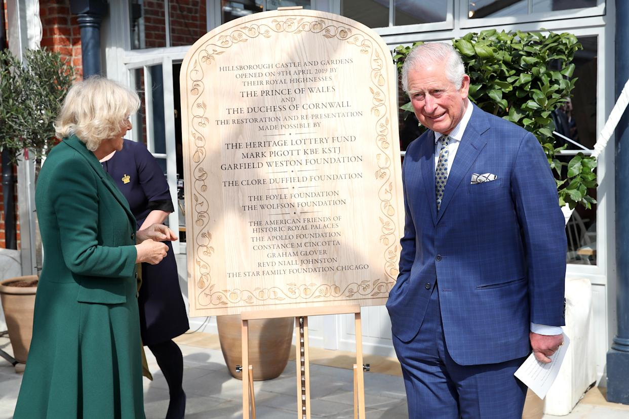 BELFAST, NORTHERN IRELAND - APRIL 09: Prince Charles, Prince of Wales and Camilla, Duchess of Cornwall attend the reopening of Hillsborough Castle on April 09, 2019 in Belfast, Northern Ireland. (Photo by Chris Jackson-WPA Pool/Getty Images)
