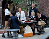 <p>Jordan Alexander, Zion Moreno, Emily Alyn Lind, Savannah Smith, Eli Brown, Thomas Doherty and Evan Mock pictured filming at on the set of the Gossip Girl reboot at the Museum of the City of New York.</p>