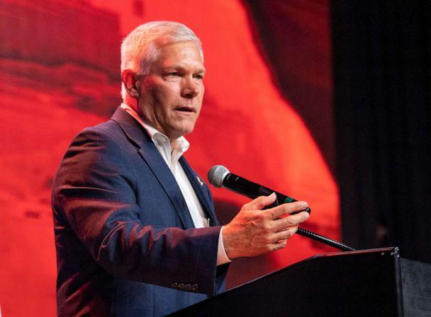 PHOTO: Incumbent Rep Pete Sessions speaks to supporters after conceding the U.S. House race to Democratic challenger and first-time candidate Colin Allred during the Dallas County Republican Party election night watch party on Nov. 6, 2018, in Dallas. (Jeffrey Mcwhorter/AP, FILE)