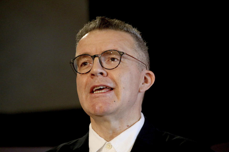 """File photo dated Wednesday Sept. 11, 2019 of Labour party deputy leader Tom Watson. The deputy leader of Britain's main opposition Labour Party has described an attempt to oust him as """"a straight sectarian attack on a broad-church party."""" Tom Watson, who has been critical of Jeremy Corbyn's leadership of Labour, told BBC radio that he believes his position on Brexit is behind the move to abolish his post.. See PA story POLITICS Labour . (Jonathan Brady/PA via AP, File)"""