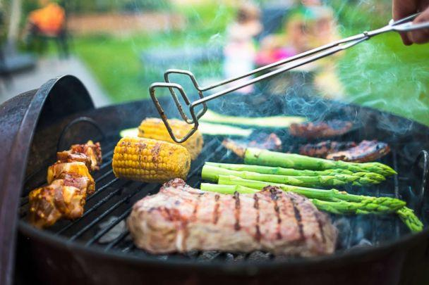 PHOTO: Meat and vegetables cook on a charcoal grill in an undated stock photo. (STOCK PHOTO/Getty Images)