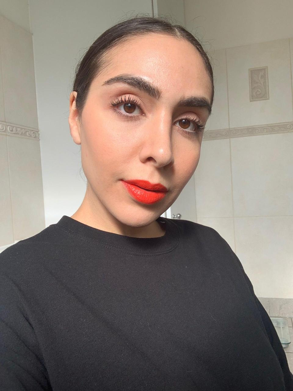 """I love this lipstick shade but you do need a lip brush to apply, otherwise it could end up everywhere, as I found out. It may be slightly glossy but the colour payoff is excellent and it sticks around without bleeding. Like all lip products which aren't matte, it will transfer, so I'd suggest blotting with a tissue first before reapplying to keep it in place for longer. I like the moisturising feel, too. This particular product is available in six colours, from nude to deep red. Use the <a href=""""https://trinnylondon.com/uk/match2me"""" rel=""""nofollow noopener"""" target=""""_blank"""" data-ylk=""""slk:Match2Me"""" class=""""link rapid-noclick-resp"""">Match2Me</a> service on the website to find your perfect shade.<br><br><strong>Trinny London</strong> Lip Luxe Lip Colour, $, available at <a href=""""https://trinnylondon.com/uk/products/lip-luxe?variant=swainy"""" rel=""""nofollow noopener"""" target=""""_blank"""" data-ylk=""""slk:Trinny London"""" class=""""link rapid-noclick-resp"""">Trinny London</a>"""