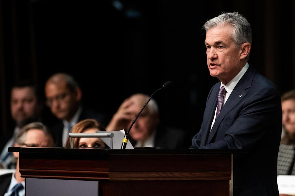 Jerome Powell, chairman of the U.S. Federal Reserve, speaks at a meeting of the Economic Club of New York in New York, U.S., on Wednesday, Nov. 28, 2018. Powell said he and other policy makers continue to see a 'solid' outlook for the U.S. economy, while noting that interest rates are 'just below' the so-called neutral range. Photographer: Mark Kauzlarich/Bloomberg via Getty Images