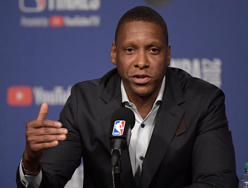 May 29, 2019; Toronto, Ontario, CAN; Toronto Raptors president Masai Ujiri answers questions during Media Day before the NBA Finals at Scotiabank Arena. Mandatory Credit: Dan Hamilton-USA TODAY Sports