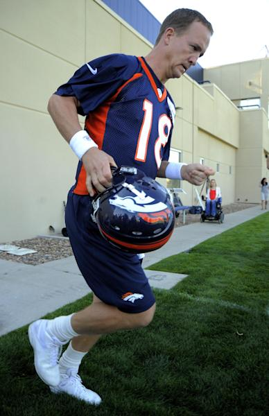 Denver Broncos quarterback Peyton Manning takes to the field for practice during the opening session of Denver Broncos NFL football training camp in Englewood, Colo., Thursday, July 26, 2012. (AP Photo/Jack Dempsey)
