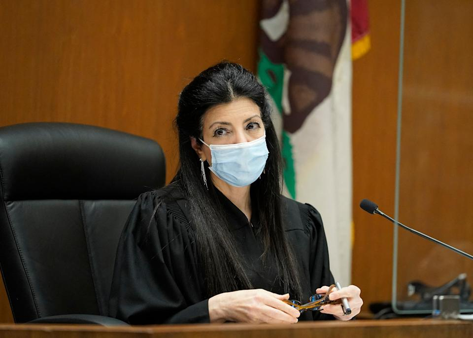 Los Angeles Superior Court Judge Victoria Wilson presides over the April 29th arraignment of several people arrested in connection with the theft of Lady Gaga's dog and shooting of her dog walker. (Photo: Damian Dovarganes / POOL / AFP)