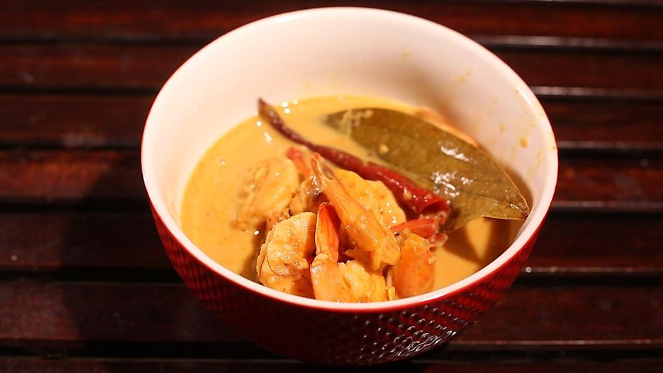 Prawns Malai Curry: A dish made with coconut milk and prawns.