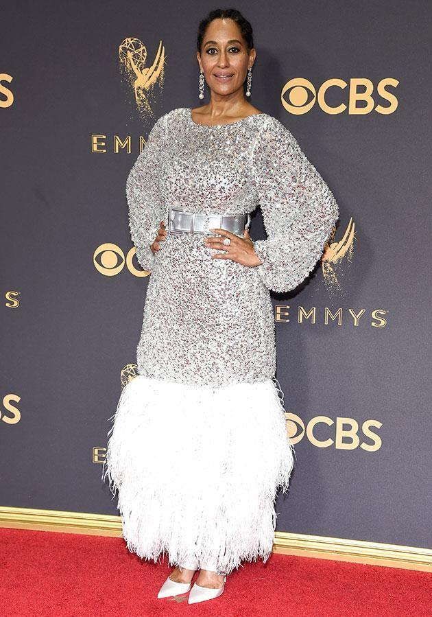 Black-ish actress Tracee Ellis Ross was also sparkling in a glittery dress. Photo: Getty