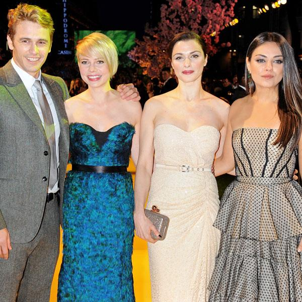 <b>James Franco, Michelle Williams, Rachel Weisz and Mila Kunis at the London premiere, Feb 2013 <br></b><br>The actor joins the leading ladies on the red carpet.<br><br>Image © Getty