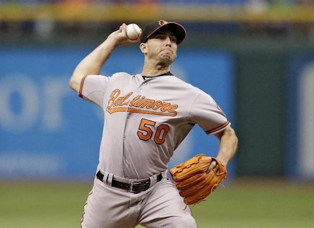 Baltimore Orioles starting pitcher Miguel Gonzalez delivers to Tampa Bay Rays' Desmond Jennings during the first inning of a baseball game Saturday, Sept. 21, 2013, in St. Petersburg, Fla. (AP Photo/Chris O'Meara)