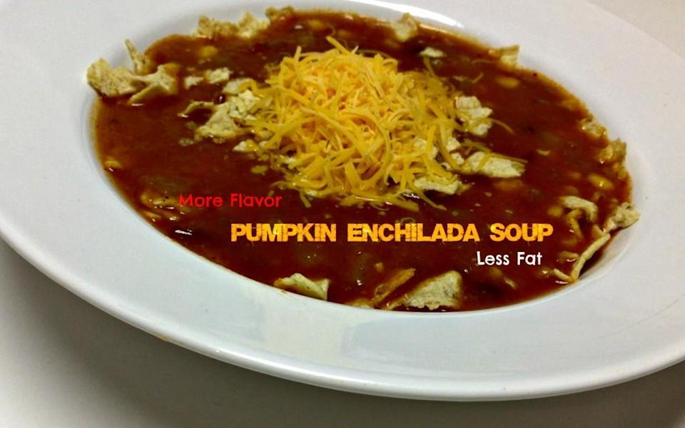 """<div class=""""caption-credit"""">Photo by: Tumbleweed Contessa</div><div class=""""caption-title"""">Low Fat Pumpkin Enchilada Soup</div><br><br>""""Put the cookie dough away,"""" advises the Tumbleweed Contessa, """"and get back to basics."""" If you're craving a hearty chili, she recommends this enchilada soup that's high in spirited Southwestern flavor but low in fat. <br> <b><br> Recipe: <a href=""""http://www.tumbleweedcontessa.com/blog/low-fat-enchilada-soup/#"""" rel=""""nofollow noopener"""" target=""""_blank"""" data-ylk=""""slk:Low Fat Pumpkin Enchilada Soup"""" class=""""link rapid-noclick-resp"""">Low Fat Pumpkin Enchilada Soup</a></b> <br>"""