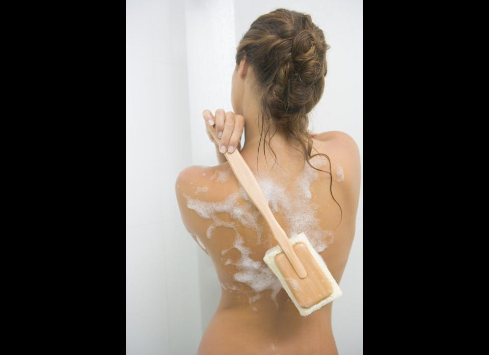 """Breakouts on places other than your face are definitely more common in the summer months, says Dr. Wu. Why? Sweat can stick to your clothes and cause friction or clog pores, both of which can result in pimples on your chest, back, backside and elsewhere.     To safeguard yourself, Dr. Wu recommends using a body wash with salicylic acid, like <a href=""""http://www.amazon.com/Neutrogena-Body-Clear-Grapefruit-Ounces/dp/B001EUS62Y/ref=sr_1_1?ie=UTF8&s=hpc&qid=1309288061&sr=1-1"""" target=""""_hplink"""">Neutrogena Body Clear Pink Grapefruit</a>, to dry out body acne. And don't skimp on exfoliating just because your skin's less dry in the summer, especially if you use a self-tanning spray or lotion.     """"Dead skin grabs onto self tanner so it looks darker in dry areas, and you end up looking blotchy,"""" Dr. Wu says. Using a body scrub in the shower will help clear away dead skin so the tint can absorb more evenly. Dr. Wu recommends <a href=""""http://www.amazon.com/Fresh-Brown-Sugar-Body-Polish/dp/B003654U48/ref=sr_1_1?ie=UTF8&s=hpc&qid=1309288097&sr=1-1"""" target=""""_hplink"""">Fresh Brown Sugar Body Polish</a> and <a href=""""http://www.amazon.com/Burts-Bees-Sugar-Cranberry-Pomegranate/dp/B003VUMMLQ/ref=sr_1_1?ie=UTF8&s=hpc&qid=1309288122&sr=1-1"""" target=""""_hplink"""">Burt's Bees Cranberry & Pomegranate Sugar Scrub</a>."""