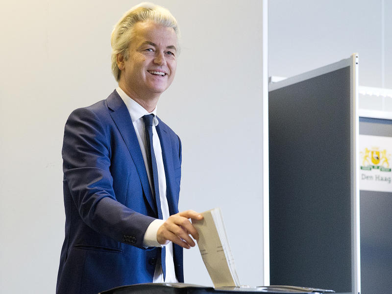 PVV party leader and firebrand anti-Islam lawmaker Geert Wilders casts his ballot for Dutch general elections in The Hague, Netherlands: AP