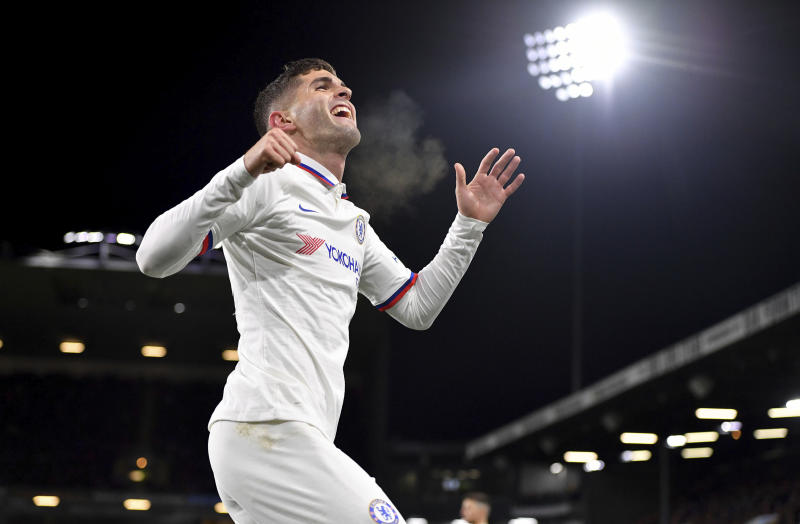What was that about a slow start? Christian Pulisic celebrated this first of his two goals for Chelsea against Burnley on Saturday. (AP)