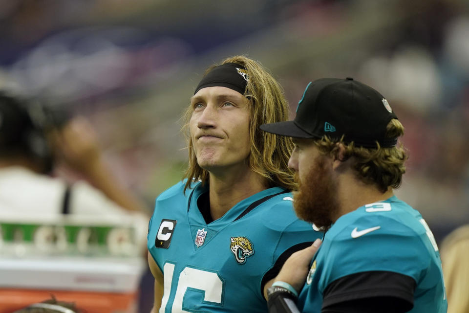 Jacksonville Jaguars quarterback Trevor Lawrence (16) looks up at the scoreboard during the second half of an NFL football game against the Houston Texans Sunday, Sept. 12, 2021, in Houston. The Texans won 37-21.(AP Photo/Eric Christian Smith)