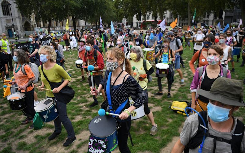 Extinction Rebellion protesters demonstrate outside Parliament on September 9, 2020 -  ANDY RAIN/EPA-EFE/Shutterstock