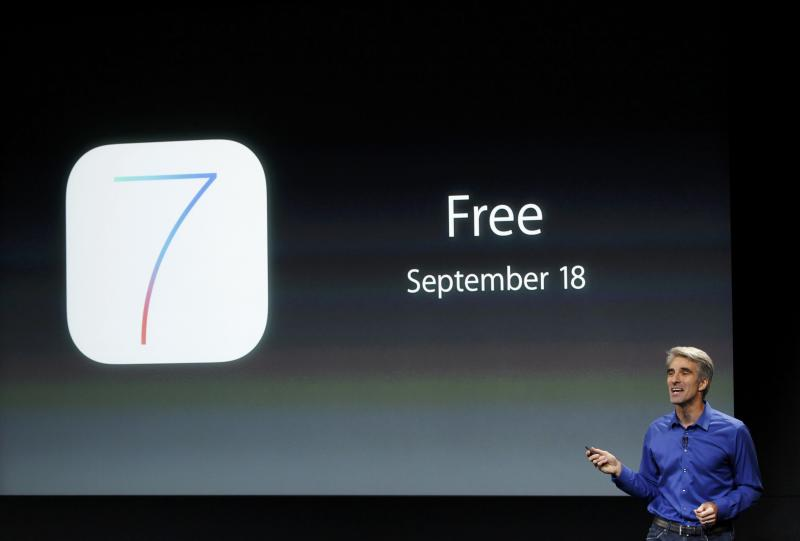 Craig Federighi, Senior VP of Software Engineering at Apple Inc talks about iOS7 during Apple Inc's media event in Cupertino