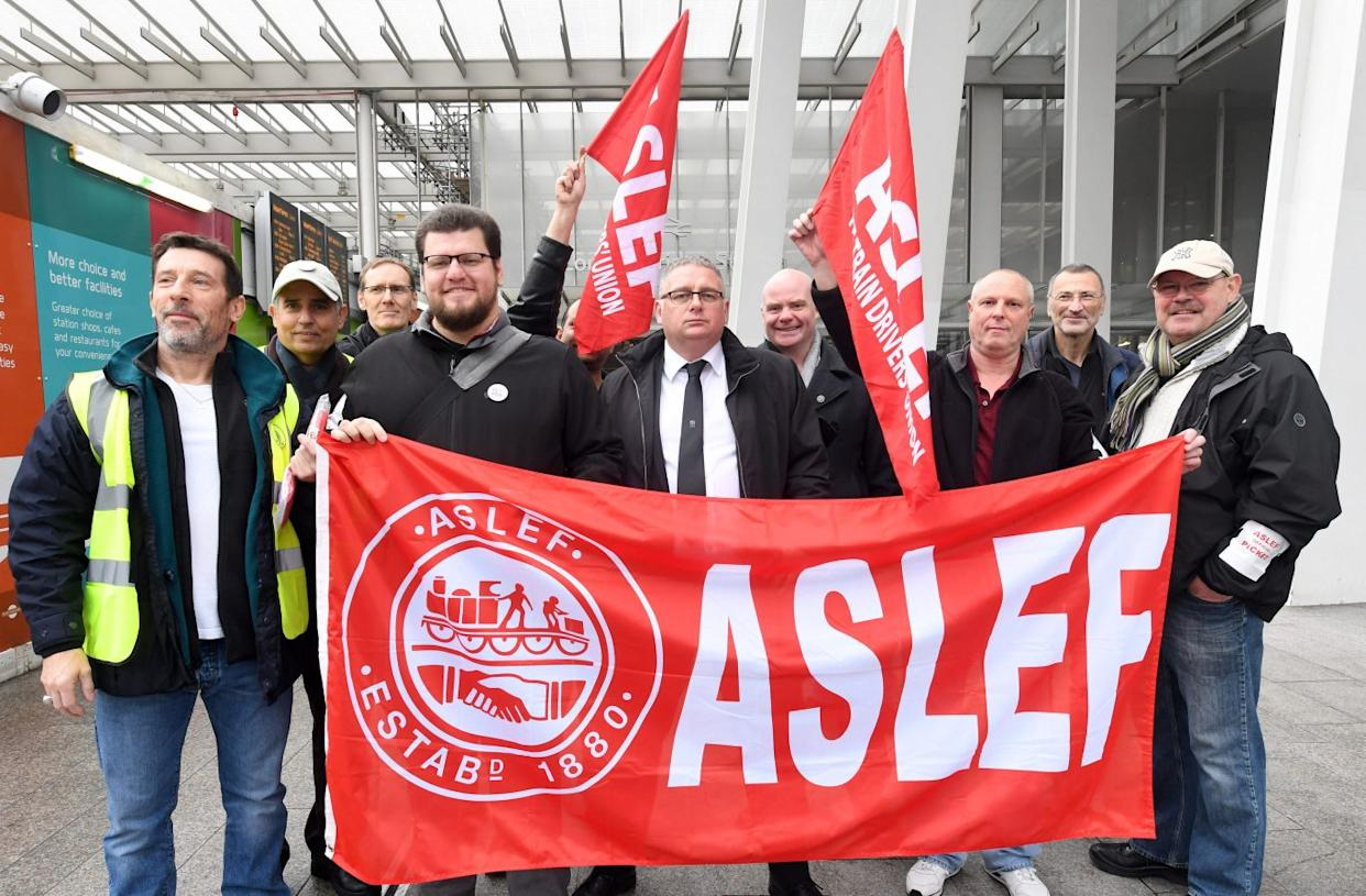 An Aslef picket line at London Bridge station during the 18-month dispute.