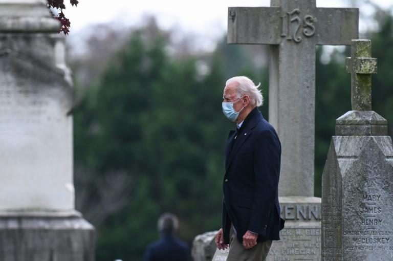 US President-elect Joe Biden, seen after attending Mass in Wilmington, Delaware on November 15, 2020, captured 306 Electoral College votes -- 36 more than needed to win the White House