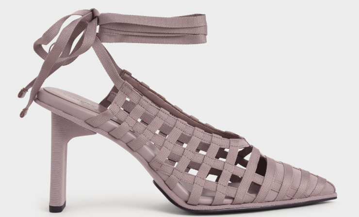 PHOTO: Charles & Keith. Grosgrain Tie-Around Caged Court Shoes