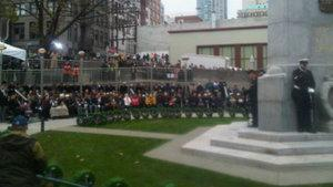 Vancouverites gather in Victory Square on Remembrance Day.