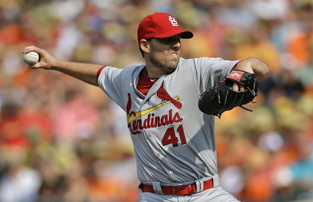 St. Louis Cardinals starting pitcher John Lackey throws to the Baltimore Orioles in the first inning of an interleague baseball game, Saturday, Aug. 9, 2014, in Baltimore. (AP Photo/Patrick Semansky)
