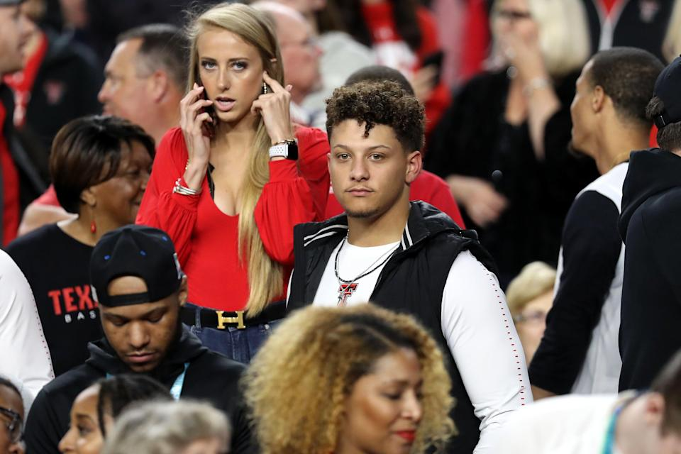 MINNEAPOLIS, MINNESOTA - APRIL 08:  NFL player Patrick Mahomes looks on prior to the 2019 NCAA men's Final Four National Championship game between the Virginia Cavaliers and the Texas Tech Red Raiders at U.S. Bank Stadium on April 08, 2019 in Minneapolis, Minnesota. (Photo by Streeter Lecka/Getty Images)