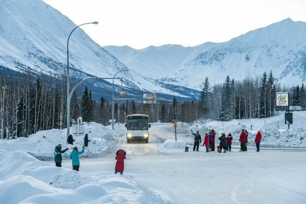 One of Yukon's mobile COVID-19 vaccination teams received a warm welcome from local residents in Haines Junction in February. As of May 1, the community had the highest rate of vaccine uptake in the territory. (Michael Schmidt - image credit)