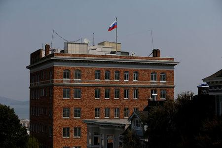 FILE PHOTO: The Consulate General of Russia is seen in San Francisco, California, U.S. on September 2, 2017.     REUTERS/Stephen Lam/File Photo