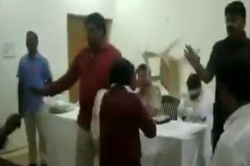 BSP Workers Smack Senior's Head With Chair During Party Meet; Twitter Gives Him 'Most Patient' Award