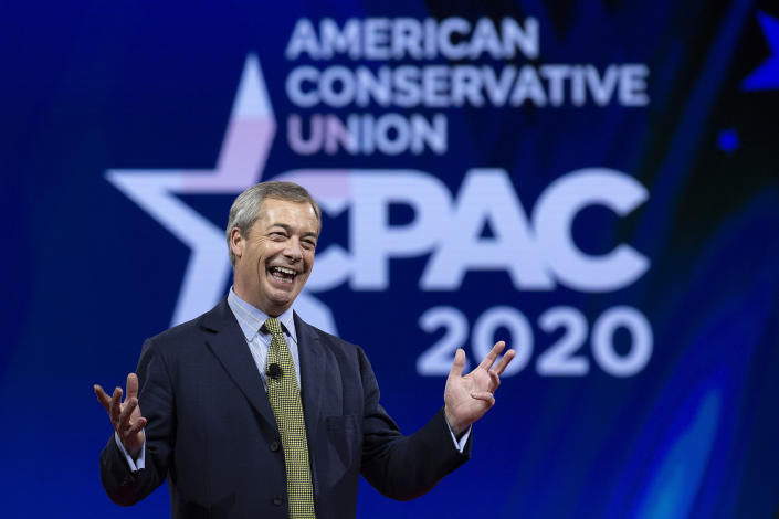 FILE - In this Friday, Feb. 28, 2020 file photo, leader of the Brexit Party Nigel Farage speaks during Conservative Political Action Conference at the National Harbor, in Oxon Hill, Md. On Friday, June 19, 2020, The Associated Press reported on a video circulating online edited to appear as if Farage made disparaging remarks about the British people, including that they are racist and should be ashamed. In the full video, Farage was actually criticizing the media for their coverage. (AP Photo/Jose Luis Magana)