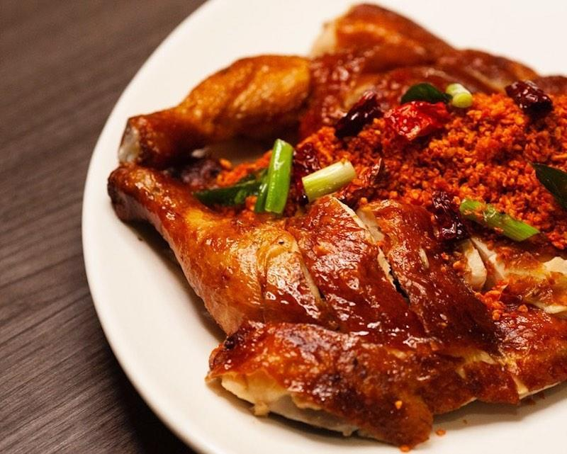 Close up of Oven Roasted Chicken with Crispy Spiced Garlic