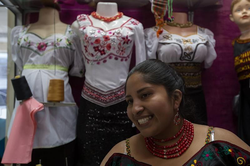 Lucia Guillin is one of the Puruha-style fashion designers making waves in Ecuador (AFP Photo/JUAN CEVALLOS)