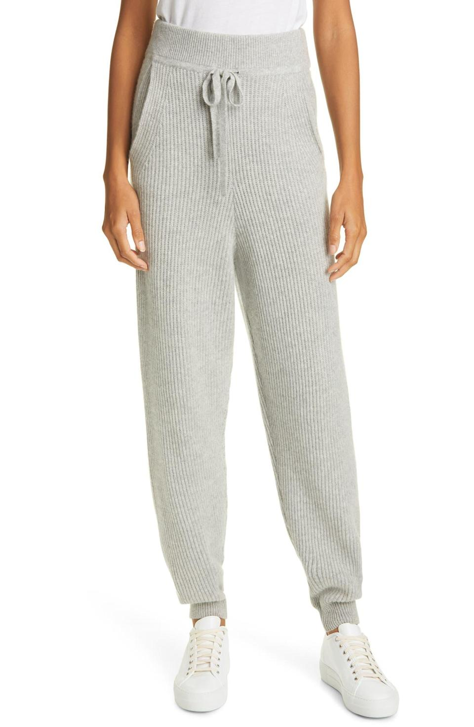 "<h2>Rag & Bone Pierce Tie Waist Cashmere Joggers</h2><br>These detail-rich sweatpants boast a host of finishes that make feel much more special than your average sweatpant, including an extra-wide waistband, slouchy leg, and loose ribbed knit for added texture.<br><br><strong>rag & bone</strong> Pierce Tie Waist Cashmere Joggers, $, available at <a href=""https://go.skimresources.com/?id=30283X879131&url=https%3A%2F%2Fwww.nordstrom.com%2Fs%2Frag-bone-pierce-tie-waist-cashmere-joggers%2F5765059"" rel=""nofollow noopener"" target=""_blank"" data-ylk=""slk:Nordstrom"" class=""link rapid-noclick-resp"">Nordstrom</a>"