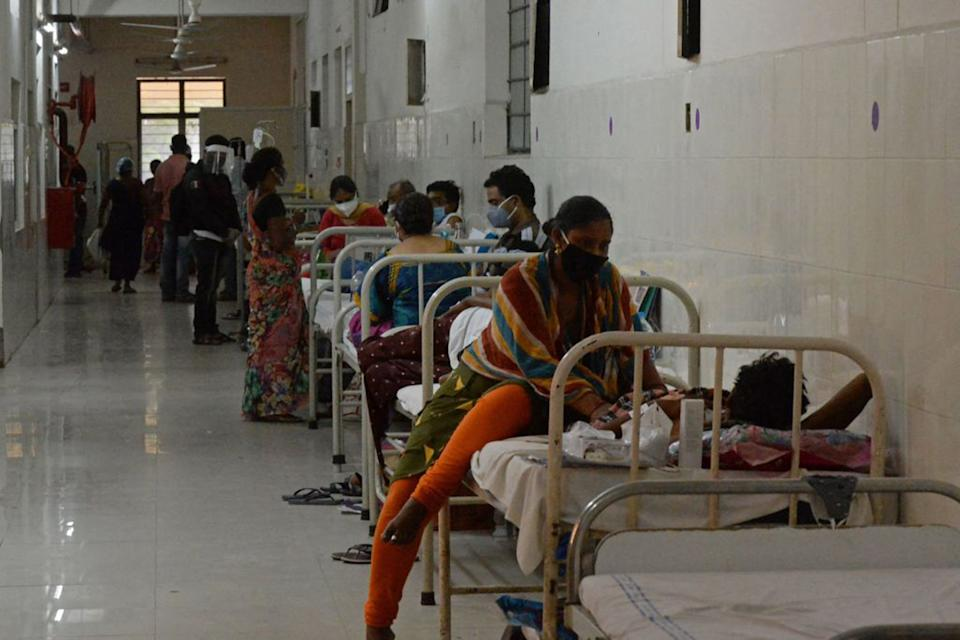 Patients infected with black fungus receive treatment in hospital.