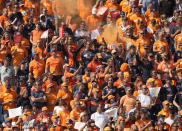 Fans cheer during the drivers parade before the Formula One Dutch Grand Prix, at the Zandvoort racetrack, Netherlands, Sunday, Sept. 5, 2021. (AP Photo/Peter Dejong)