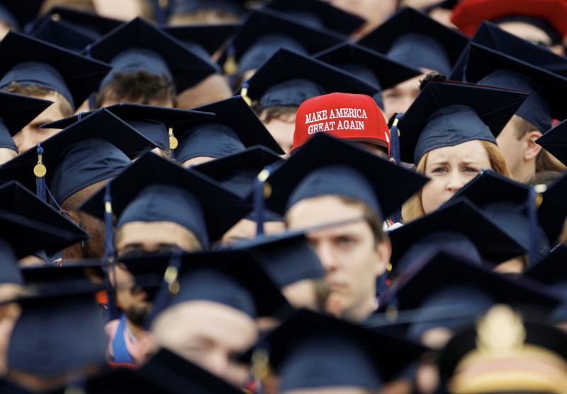A graduate wears a Make America Great Again hat amidst a sea of mortar boards before the start of commencement exercises at Liberty University in Lynchburg, Virginia, U.S., May 11, 2019. (Photo: REUTERS/Jonathan Drake)