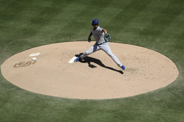 Chicago Cubs starting pitcher Yu Darvish works against a San Diego Padres batter during the fourth inning of a baseball game Thursday, Sept. 12, 2019, in San Diego. (AP Photo/Gregory Bull)