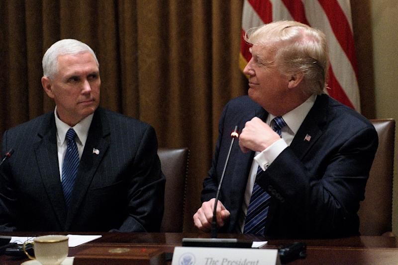 US Vice President Mike Pence, seen here with President Donald Trump, has sharply rejected a report he is preparing for a possible presidential run in 2020 (AFP Photo/Brendan SMIALOWSKI                  )