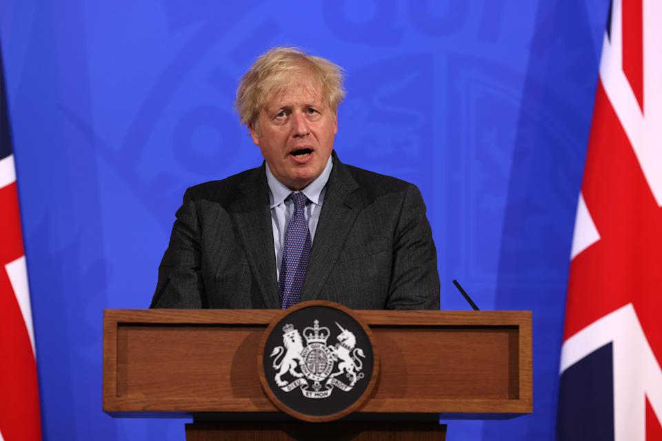 Prime Minister Boris Johnson, during a media briefing in Downing Street, London, on coronavirus (Covid-19). Picture date: Monday June 14, 2021.