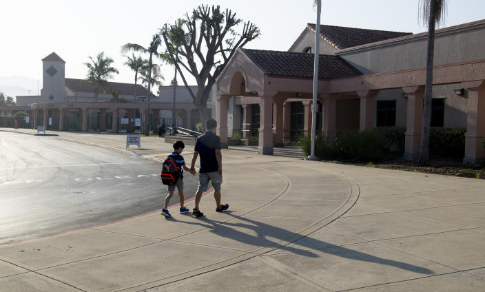 Tustin, CA - August 12: Students were back on campus for the first day of classes at Tustin Ranch Elementary School in Tustin, CA on Wednesday, August 11, 2021. (Photo by Paul Bersebach/MediaNews Group/Orange County Register via Getty Images)
