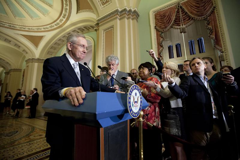 In this photo taken May 22, 2012, Senate Majority Leader Harry Reid, D-Nev., speaks to reporters at the Capitol following a political strategy meeting in Washington. Historically voters have valued experience, and half of the Senate's members first served in the House, including seven of the 16 who were elected in 2010. But over the last three election cycles voters have been looking more and more for candidates viewed as fresh faces.  (AP Photo/J. Scott Applewhite)