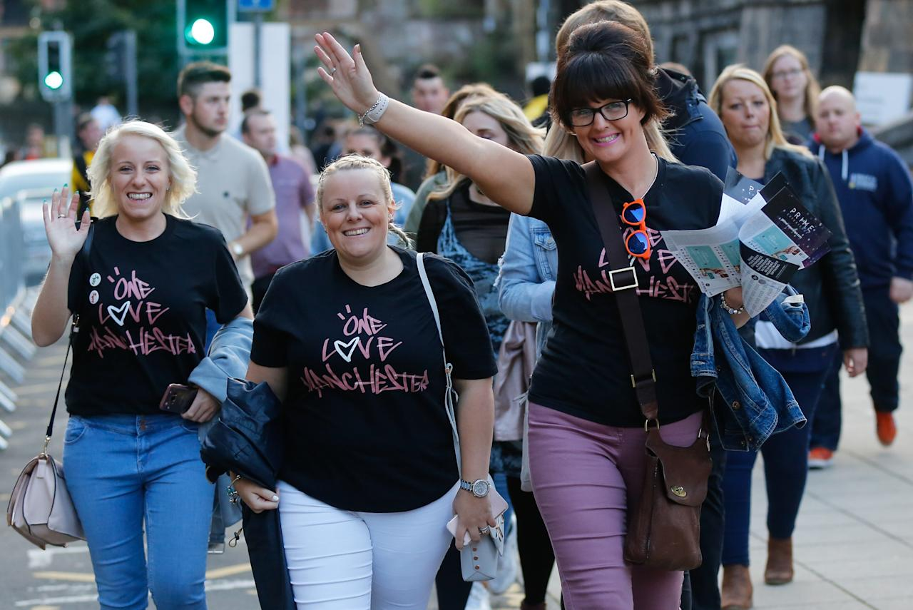 <p>Thousands of music fans turned out for the benefit concert to mark the reopening of the venue for the first time since a terror attack that claimed 22 lives [Picture: SWNS] </p>