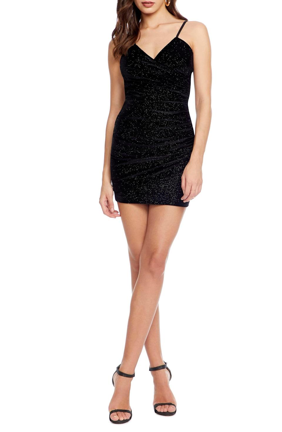 """<p><strong>COSMOPOLITAN DRESS THE POPULATION</strong></p><p>nordstrom.com</p><p><strong>$48.98</strong></p><p><a href=""""https://go.redirectingat.com?id=74968X1596630&url=https%3A%2F%2Fshop.nordstrom.com%2Fs%2Fcosmopolitan-dress-the-population-xoxo-ruched-body-con-minidress%2F5423158&sref=http%3A%2F%2Fwww.cosmopolitan.com%2Fstyle-beauty%2Ffashion%2Fg30057282%2Fshop-nordstrom-black-friday-cyber-monday-sale-2019%2F"""" rel=""""nofollow noopener"""" target=""""_blank"""" data-ylk=""""slk:Shop Now"""" class=""""link rapid-noclick-resp"""">Shop Now</a></p><p>If you've been searching for that perfect New Year's Eve dress, a velvet mini with ruching and subtle sparkles might be right up your alley. </p>"""
