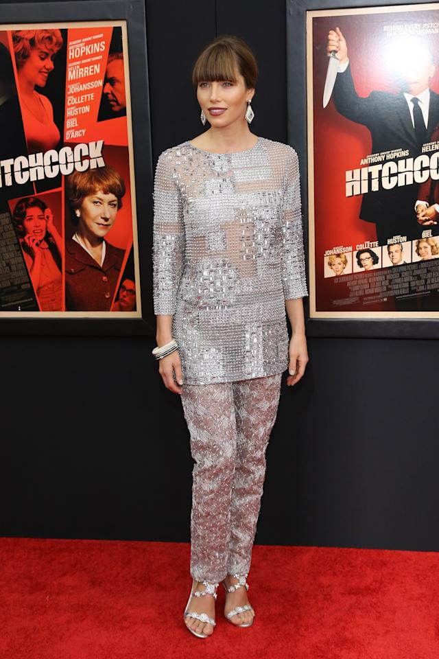 """NEW YORK, NY - NOVEMBER 18:  Actress Jessica Biel attends the """"Hitchcock"""" New York Premiere at Ziegfeld Theater on November 18, 2012 in New York City.  (Photo by Neilson Barnard/Getty Images)"""