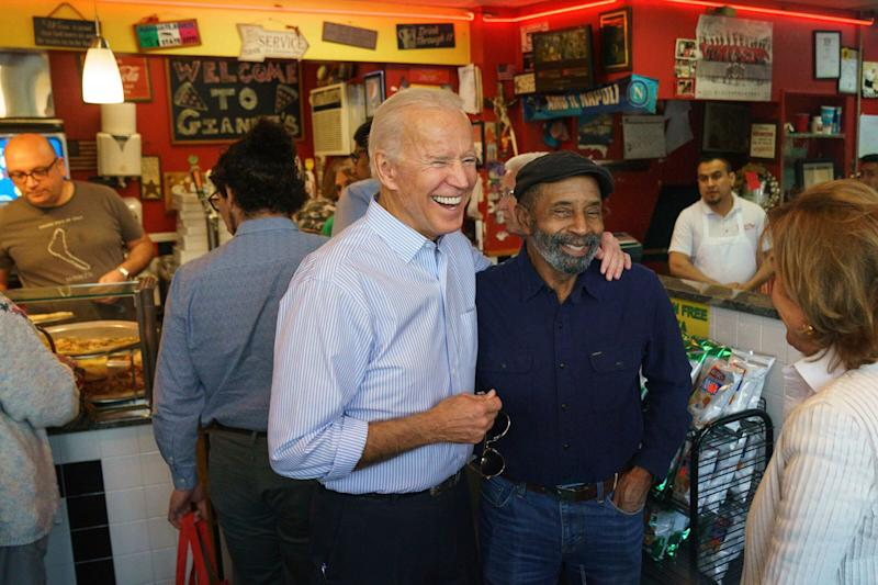 Democratic presidential candidate and former Vice President Joe Biden greets people at Gianni's Pizza, in Wilmington Del., Thursday, April 25, 2019. (Photo: Jessica Griffin/The Philadelphia Inquirer via AP)