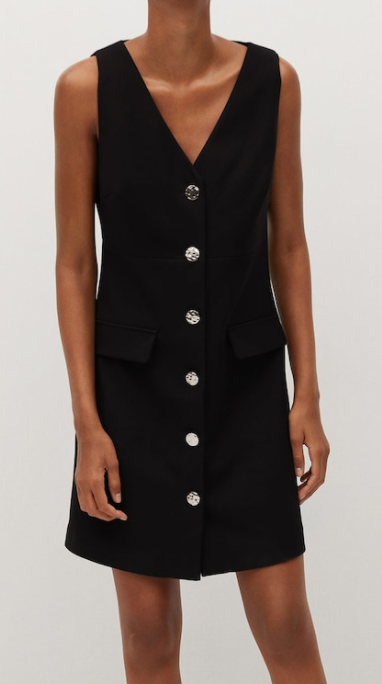 Mango Buttons Pinafore in Black